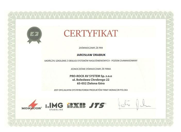 Certyfikat Instalatora Monacor Jarosław Drabiuk